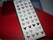 925 Solid Silver 20 paira Mixed Mickey Mouse Crystal Straight Bar Rod Nose Studs