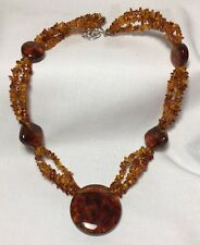 "Jay King DTR Amber Necklace  Sterling Silver 925 Hook Clasp 22"" Long"