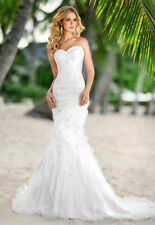Organza Layers Beach Mermaid Wedding Dress Bridal Gown Custom Size 6 8 10 12 14+
