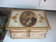 Vintage Jewelry Wood Music Box Florentine Style  ESTATE FIND