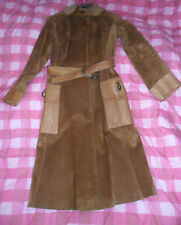Vintage GUCCI tan suede leather enamel tiger belt and clasps coat 6/8 XS 60s