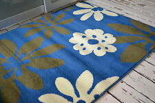 Blue Ivory Brown Floral rug Modern design SALE PRICE 100x150cm