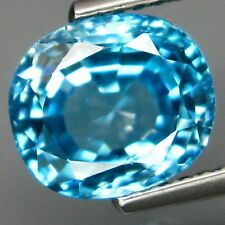 BLUE ZIRCON - 3.84 CT., 100% Natural Cambodian -  8.5 x 7.5mm - Very Good Luster
