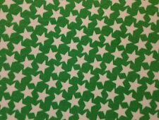 WONKY STAR GREEN PRINT ANTI PIL MICRO FLEECE BLANKET JACKET DRESS CRAFT FABRIC