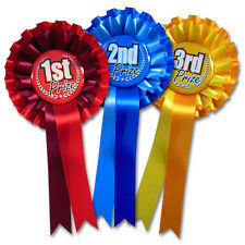 1st - 3rd Rosettes, 2 tier Domed Badge prize rosettes, two tone horse rosettes
