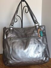Coach Poppy Pebbled Leather Glam Tote Stardust/silver, Handbag 19002