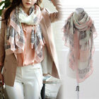 Womens Flower Cotton Ladies Soft Scarves Long Wraps Shawl Winter Silk Scarf Gift