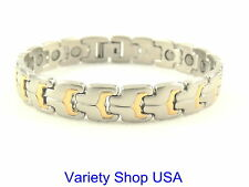 Stainless Steel Magnetic Therapy Bracelet 2 Tone 90,000 Gauss SS47-2T