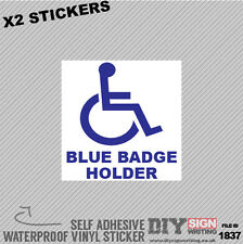 X2 Blue Badge Holder Disabled Driver Self Adhesive Vinyl Sticker Decal Window