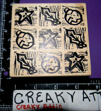 CHRISTMAS TILES SQUARES HOLLY BULB RUBBER STAMP MAGENTA 02220M