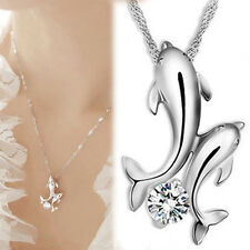 Silver Double Dolphin Rhinestone Pendant Necklace Chain Jewelry Women Girl Gift