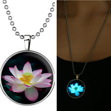 Charm Lotus Flower Glow in the Dark Stainless Steel Necklace Pendant New WOMEN