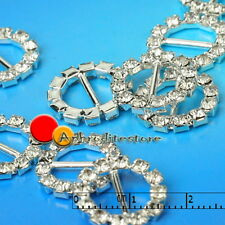 10x Metal Round Shaped Rhinestone Buckles Slide for Hat Belt Dress Craft 17x17mm
