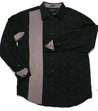 SEAN JOHN Western Pearl Snaps Tailored Fit Mens XXL French Cuffs Black Rodeo