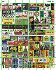 N017 DAVE'S DECALS N SCALE ASSORTED SIZES ADVERTISING SIGNAGE BUS DEPOT GAS OIL