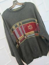 Tricot Marine Fisherman Crewneck Sweater Made in Ireland Men's Size XL Gray Red