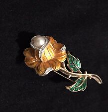 Vintage Crown Trifari  Enamel Yellow Rose Rhinestones Faux Pearl  Brooch Signed