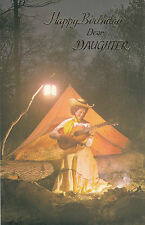 Happy Birthday Daughter Vintage 1970's Greeting Card - Camp fire Guitar Singer