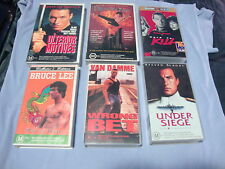 6 VHS VIDEO ACTION MOVIES ULTERIOR MOTIVE DRAGON FIRE WRONG BET BRUCE LEE SEAGAL