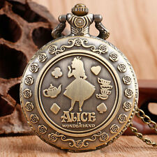 Xmas Gift Girls Female Necklace Pocket Watch Alice in Wonderland Vintage Pendant