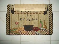 Home Decor Tapestry Placemats Set/4 HOME is in the KITCHEN Wine UTENSILS Checker