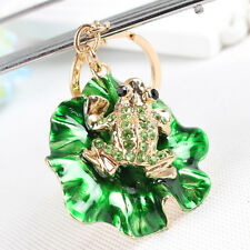 Lovely Frog Green Lotus Leaf Charm Pendant Accesories Crystal Key Ring Chain Gif