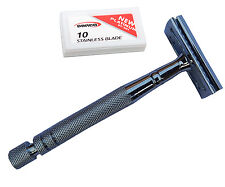 AD LONG HANDLE STAINLESS STEEL SAFETY RAZOR SILIVER FOR MANUAL SHAVING
