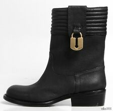 new $490 MARC JACOBS logo LOCK black leather biker riding FLAT ANKLE BOOTS 6