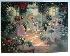 "Floral-Garden-""Tea In The Conservatory""-Christa Kieffer-L/E-Lithograph-Art-Print"