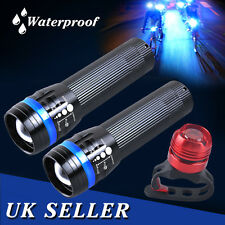 2x LED Cree Q5 Mountain Bike Bicycle Zoomable Front & Rear Lights Waterproof UK