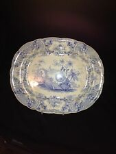 "Early 14 3/4"" Blue & White Japan Flowers Staffordshire Platter"