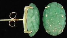 Natural Green Jadeite Jade Carved Ovals 14K Yellow Gold Earrings (3729G590)