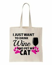 i just want to drink wine and pet my cat christmas gift mother's day tote bag