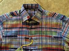Luchiano Visconti L/S Shirt Mens S Navy w/Multi Color Abstract Lines NWT $125