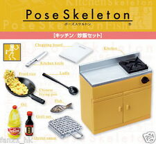Re-ment Miniatures Pose Skeleton Kitchen and Fried Rice Set rement