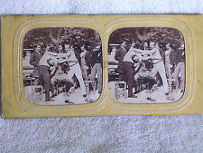 French Tissue Stereoview/3 Wine Drinkers Fighting-Wrestling at Table/Onlookers