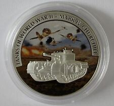 Liberia 2008 Large Silver Proof Color$5 WWII-British Churchill M4 Tank/Airplanes