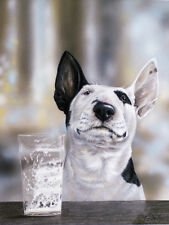 "BULL TERRIER ENGLISH BULLY DOG FINE ART LIMITED EDITION PRINT - ""Mine's a Pint"""