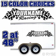 Custom Name Race Flag Trailer Decal MX ATV Motocross Go Kart Car SX Track Team