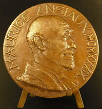 Médaille belge à Maurice ANSIAUX 1939 sc Doll Ledel 80 mm Belgique FONSON medal