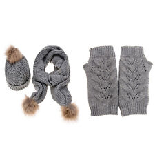 Women's New Autumn Winter Knitted Hat Glove And Scarf Set (Jelinda) (Grey)