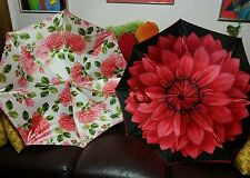 Estate Vintage Well Kept Pasotti Fine Italian Umbrella Pair * Pink Red Floral
