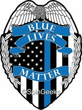 "Blue Lives Matter American Flag Badge 5"" Car Truck decal sticker"