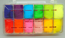 ANTRON #3 Wapsi USA 12 Farben Antron-Dubbing-Box #3 Steelhead Colors