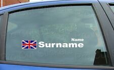 Rally Race Surname Window Names Tag Union Jack England Flag 2 Stickers Decals d6