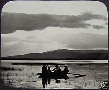 Glass Magic Lantern Slide LOCH OF PARK C1890 SCOTLAND PHOTO CLOUD EFFECT BOAT