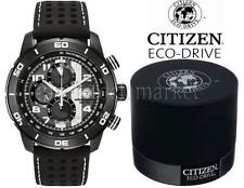 NEW IN BOX! Mens Citizen CA0467-46E Eco-Drive Black Ion Plated Chronograph Watch