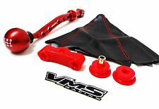 92-95 HONDA CIVIC SOHC RED VMS RACING SHORT SHIFTER BUSHING SHIFT KNOB BOOT KIT