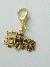 FIRE TRUCK- GOLD CHARM-LOBSTER CLASP-FIRE FIGHTER-BRACELET-STAMPED - HOLLOWBACK