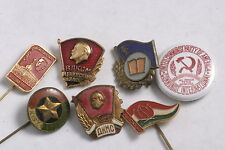 Soviet Communist Lot Set of Party Badges Pins East Germany Hungary USA Bulgaria